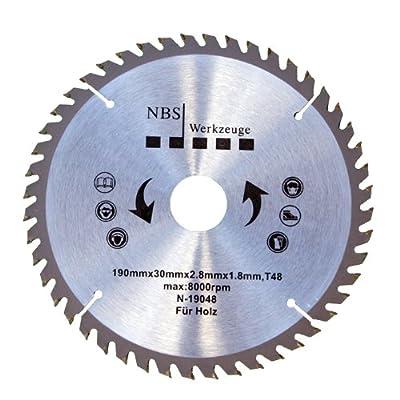 NBS Werkzeuge HM Hartmetall Kreissägeblatt 190 x 30 x 48 Zähne