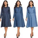 Modfine Jeanskleid Damen Hemdblusenkleid Vintage Rockabilly Kleid Etui Kleid Retro Denim Blau Tunika Jeansbluse, Dunkelblau, Gr. S