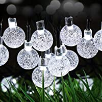 Solar Powered String Lights, 30 LEDs White Crystal Ball Waterproof Outdoor Fairy String Lighting for Garden, Home, Landscape, Christmas