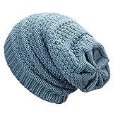 Dafunna Cappello Invernale Unisex Slouch Beanie Berretti in Maglia Morbido e Caldo Cappelli Invernali per Donna e Uomo (Blu)