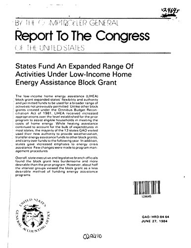 States Fund an Expanded Range of Activities Under Low-Income Home Energy Assistance Block Grant