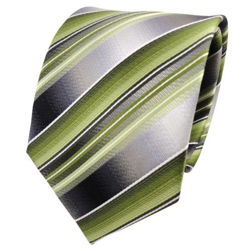 TigerTie Seidenkrawatte grün hellgrün grau silber gestreift - Krawatte Seide