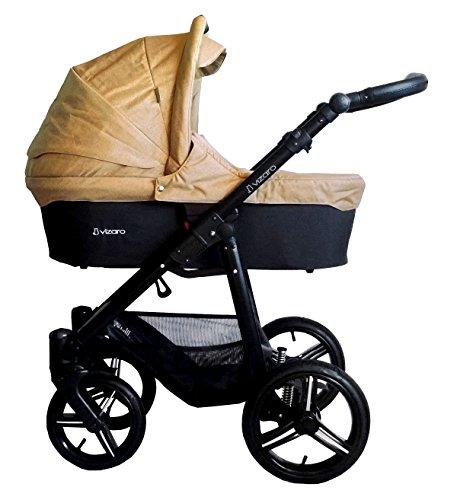 Vizaro ONYX - 2 EN 1 - Carrito de Bebé con Capazo y Silla de Paseo - Cochecito de Bebé Todoterreno Urbano y Elegante - Hecho en EUROPA - Ruedas de AIRE GRANDES - Alta CALIDAD - Chasis Aluminio - Cochecito Ligero y Plegado Compacto Tipo Libro