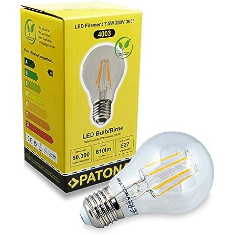 PATONA Lampadina LED 7.5W / sostituito 80W / 230V / 810 Lumi / 3000K / LED Filament - bianco caldo, vetro trasparente, base de alluminio - E27