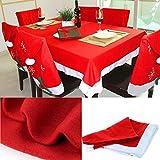 Sonicee Red Christmas Tablecover Rectangular Table Cloth Skirts Xmas Home Restaurant Decor (1 pcs)