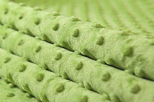 MINKY DOT - flauschiger Plüschstoff mit Noppen, Fleece, Meterware - Hellgrün - Grau Minky Stoff