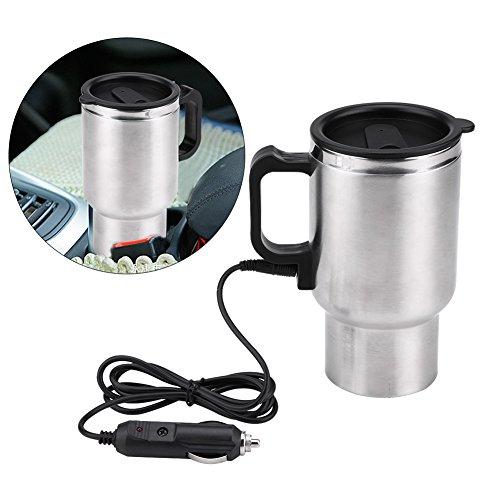 Jadeshay Elektrische Thermosflasche - 12V Edelstahl Auto Wasserkocher Becher Reise Heizung Tasse für Kaffee Tee, 450ml -