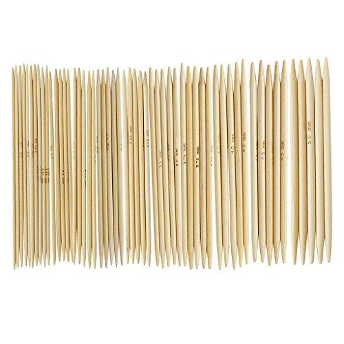 Wilk - Juego de 11 Agujas de Tejer de bambú de 4,9 Pulgadas, Doble Punta, 2,0 - 5,0 mm, US 0 - 8