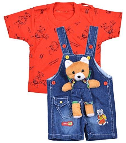 Kuchipoo Baby Boys Dungaree Set (KUC-DUN-122, Blue & Red, 0.6-1 Years)