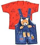 #9: Kuchipoo Baby Boys Dungaree Set (KUC-DUN-122, Blue & Red, 0.6-1 Years)