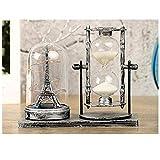 Homeofying 2 Stück Vintage Sanduhr-LED-Lichterturm Tischlampe Home Holiday Decor Geschenke Silber