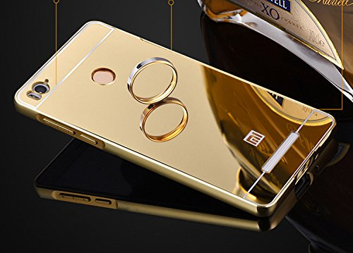 sports shoes 0de59 9746f SDO™ Mirror Back Cover Case with Acrylic Bumper Frame for Xiaomi Redmi 3S  Prime/Redmi 3S Pro with Fingerprint Cutout (Gold)