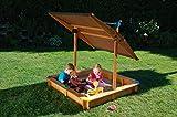 Koll Living Sandkasten Mickey 2 mit schwenkbaren Dachlift - 140 x 140 cm - spendet Schatten und schützt den Sand vor Verunreinigungen