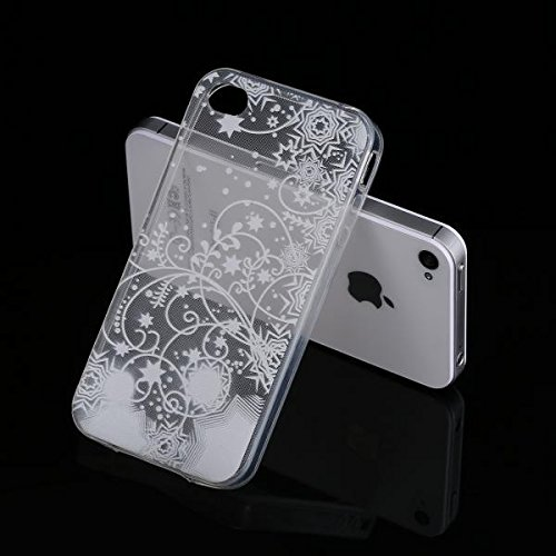 ECENCE Apple iPhone 4 4S Coque de protection housse case cover rétro noir à pois blanc 22040104 Transparent étoiles