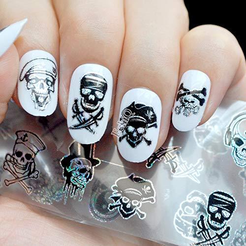 LXYQW Nagelsticker Zombie Love Skull Nagel Folie Maniküre Halloween Dekoration Nail Art Transfer Sticker holographische Sternenpapier Decals (Für Die Halloween-design Nägel)