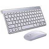 Never-hu Ensemble Clavier et Souris sans Fil texturés, Souris Ultra-Fine 2,4 G pour Clavier Apple Keyboard Style Mac Win XP / 7/8/10 conçue pour Le Bureau et la Maison