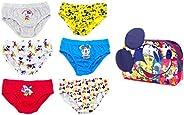 Disney Mickey Mouse Calzoncillos para Niños, Pack Múltiple de 6 Calzoncillos, 100% Algodón Suave, Conjunto de