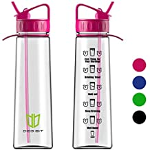 Degbit Water Bottle, [900ml/32oz] BPA Free Motivational Straw Sports Water Bottle with Time Markings Helps You Hydrate, Non-Leak, Durable Tritan Cycle Drinks Water Bottles For Outdoors; Adult & Kids