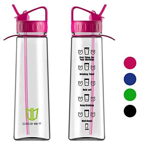 Wasserflasche, Degbit [BPA-freiem Tritan] Eco Friendly Kunststoff Trinkflasche Sport, Flasche ca. 1L, Sportflasche Auslaufsicher, Fahrradflasche Trinkflaschen BPA Frei mit Strohhalm & Tragehenkel (R0t) (Sport Stroh Flasche)