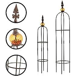 1PLUS Metall Rankhilfe Obelisken Set, 2 Stück, Höhe: 80,5 und 100 cm, in versch. Farben - rost-geschützte Garten Rosen Säule (Allgold, Braun)