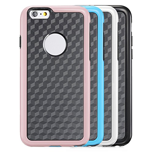 "Fosmon DURA-HOLOGRAM Stereoscopic Wall 2 in 1 TPU + PC Case for Apple iPhone 6/6S (4.7"") - Blue (PC Frame) / Black (TPU) blau"