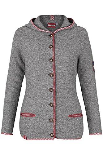 Damen h.moser Salzburg Damen Trachtenstrick-Jacke mit Kapuze grau rot lang, 0527 hellgrau, 36