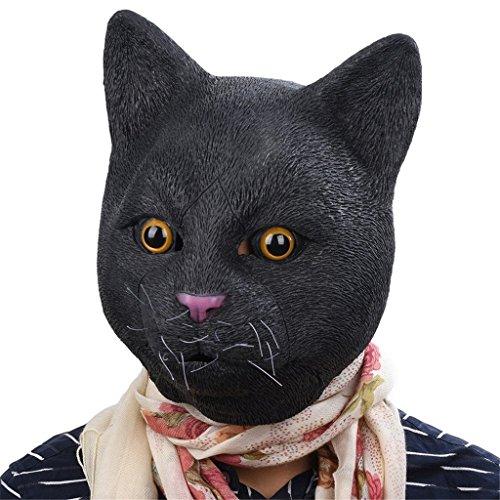 Auspicious beginning Neuheit Schwarze Katze Latex Kopf Kostüm Party Maske (Löwe Kostüm Streich)