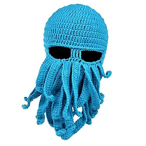 MagiDeal Lustige Bartmütze Stickmütze mit Bart Maske Krake Kostüm - Blau (Blaue Tintenfisch Kostüm)