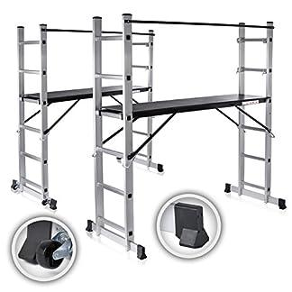 MAXCRAFT Plataforma de Trabajo Multipropósito Escalerilla Escalera Combinación de Aluminio y Andamio con Ruedas Peldaños Escala Plegable (5 posibilidades de Uso)