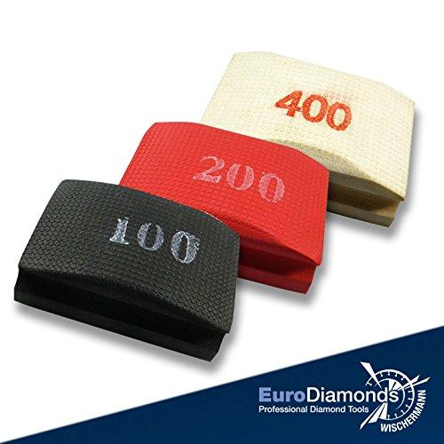 Das Original Diamant-Handschleifpad / Schleifschwamm Spar Set 3-tlg. Körnung 100, 200, 400 für Marmor, Glas, Kunststein, Granit, Naturstein, Keramik