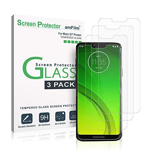 Moto G7 Power Panzerglas Bildschirmschutzfolie (3 Stück), amFilm Panzerglas (Gehärtetem Glas) für Motorola Moto G7 Power