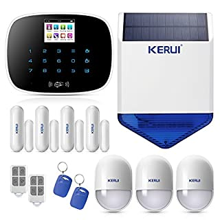KERUI G19 Wireless Wired GSM SMS RFID Home Burglar Security Alarm System Kit with Touch Screen Keypad LCD Display Auto Dial DIY Kit Wireless Outdoor Waterproof Flashing Siren Black