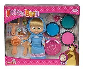 Simba - 109308249 - Masha et Michka - Poupée Cheveux Colorés - + Accessoires - 12 cm