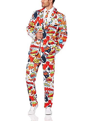 Smiffys, Herren Comic Strip Anzug Kostüm, Jacke, Hose und Krawatte, Mehrfarbig  (Red & White) ,Größe: 46-48 inch, - Herr White Kostüm