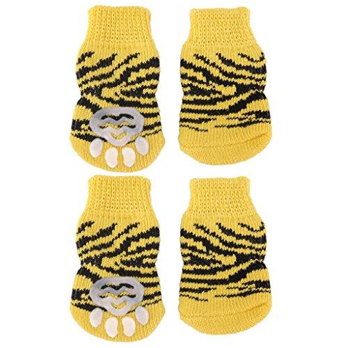 Hund Welpen Katze Rutschfeste Anti Rutsch Schuhe Hausschuhe Socken Gelb Groesse XL