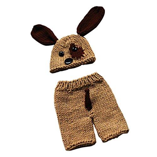 (Baoblaze Baby Kostüm Outfits Fotografie Requisiten Welp Hündchen gestrickte häkeln Hut Kostüm Fotoshooting Foto Props)