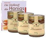 Honig Probierset (Manuka, Buchweizen, Leatherwood) + Buch