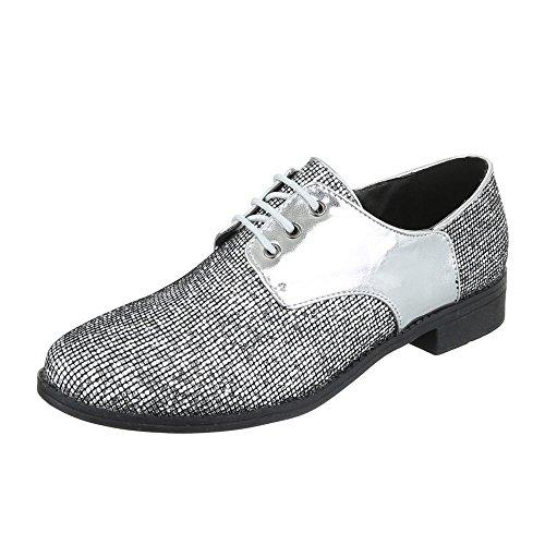 Schnürer Damen-Schuhe Oxford Blockabsatz Schnürer Schnürsenkel Ital-Design Halbschuhe Silber, Gr 39, Pm6004-