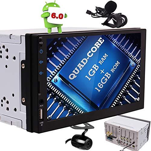 EINCAR Quad-Core-7-Zoll-LED-Hintergrundbeleuchtung Touch-Screen-Doppel-DIN-Autoradio Android 6 Doppel Satelliten GPS Navigation Bluetooth, externes Mikrofon und USB/microSD-Anschlüsse, Wireless - Android Autoradio-touch Screen