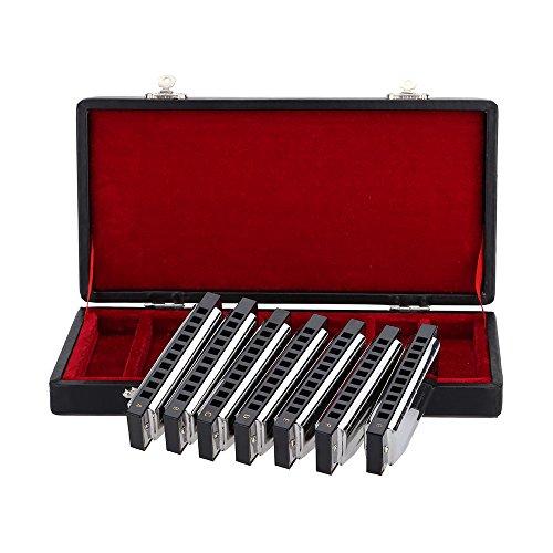 Ammoon Swan Mundharmonika 10Löcher Blues Harfe Harp Set 7Stück (A) W oder Behälter vorzügliche + Tücher
