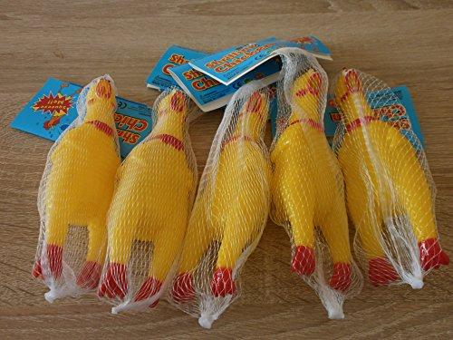 3 schreiendes Huhn Quietschhuhn Gummihuhn - ca. 17cm Hundespielzeug