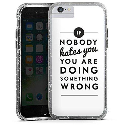 Apple iPhone 6s Bumper Hülle Bumper Case Glitzer Hülle Sprüche Sayings Phrases Bumper Case Glitzer silber