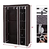 #2: Portable Foldable Clothes Closet Wardrobe Non-woven Fabric Multipurpose Storage Organizer Cupboard Brown Almirah By Krishyam