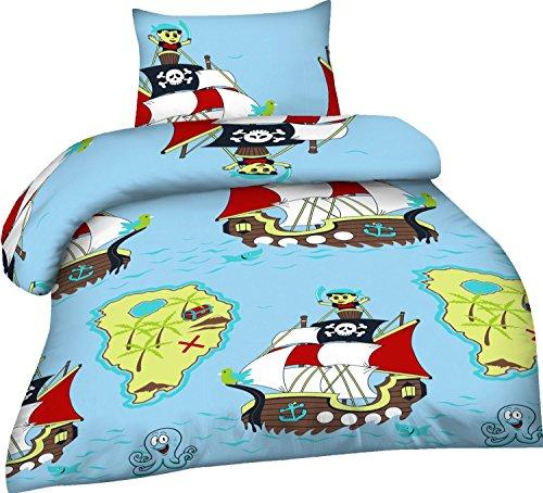 2-Teilige wunderschöne lustige Renforcé- Kinderbettwäsche Pirat 1x 100x135 Bettbezug + 1x 40x60 Kissenbezug , 100% Baumwolle