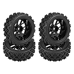 Dilwe RC Car Tires, 4 Pcs Rubber Tyre Wheel Rim for 1:10 Racing Off-Road Car Part(Black)