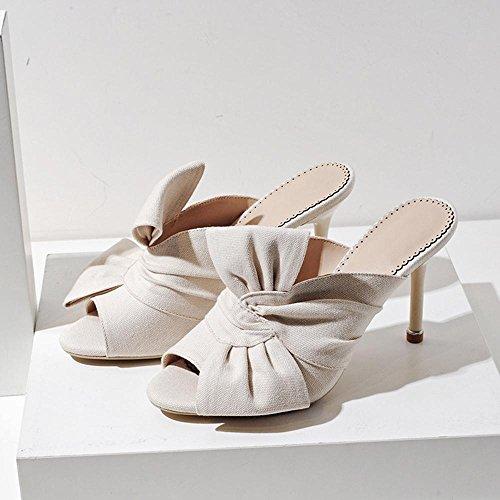 GJDE Signora in Sandali Tacco Testa di Pesce Estate e Tacchi arco di lino Pantofole Stiletto Plateau Materiali Personalizzati apricot