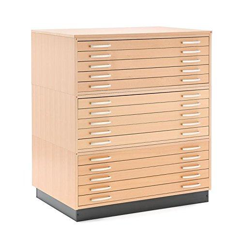 AJ Produkter AB 105432 Planschrank DIN A1 mit 15 Laden, Furnier Buche