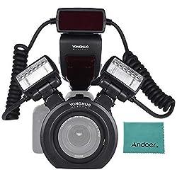 YONGNUO YN24EX E-TTL Macro Speedlite 5600K + 2pcs Têtes Flash + 4pcs Anneaux adaptateur pour Canon EOS 6D 1Dx 5D3 7D 70D 80D Caméras