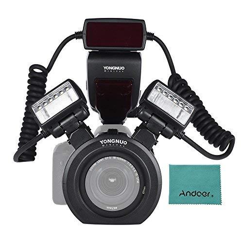 YONGNUO YN24EX E-TTL Macro Blitz Blitzlicht Speedlite 5600K mit 2 Stück Blitzköpfe und 4pcs-Adapterringe für Canon EOS 1DX 5D3 6D 7D 70D...