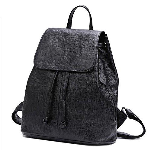 DJB/ Echtes Leder Handtasche Schultertasche College Wind Rucksack-Tasche Black